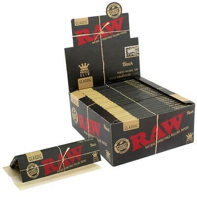 Raw Classic King Size Slim Black Rolling Papers 50 Packs~Sealed Box
