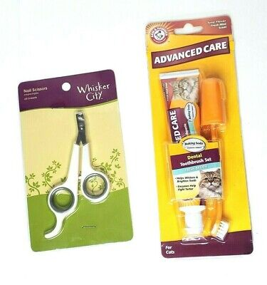 Cat Care 2 Piece Lot Whiskers City Nail Scissors Arm n Hammer Toothbrush Paste