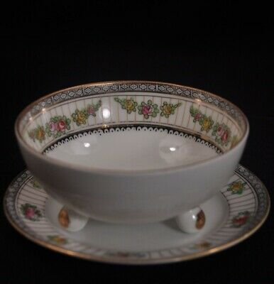 Nippon Mayonnaise Bowl 3 Footed w/Underplate Gold Maruki Mark Floral 1912-1918