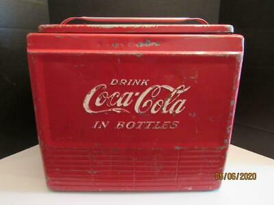 Vintage~DRINK COCA-COLA IN BOTTLES~COOLER~Red~Metal~Sandwich Tray~Drain Plug