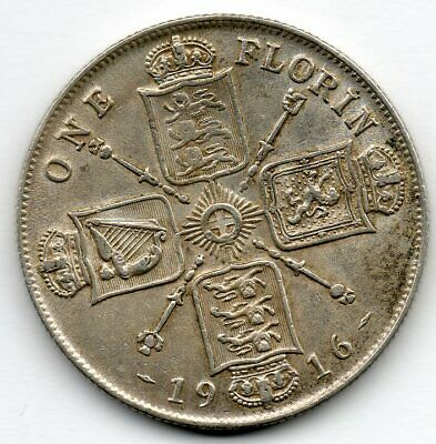 Great Britain 1 Florin 1916 (92.5% Silver) Coin