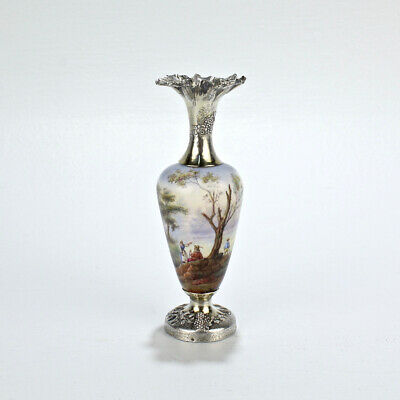 Antique French Enamel and Sterling Silver Miniature Cabinet Vase - SL