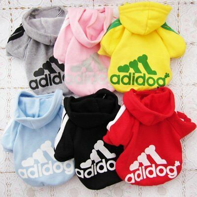 Adidog Small Dogs Puppy Apparel Hoodie Sweater T Shirt Jumpsuit Pet Sports Coat