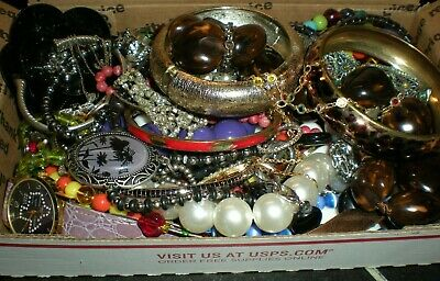 Jewelry Vintage Mod Huge Lot Craft Box FULL POUNDS Brooch Necklace Earring M47