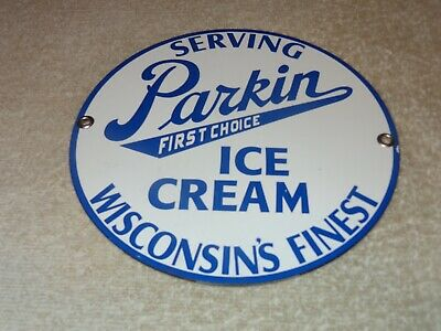 "Vintage Parkin Ice Cream Wisconsin's Best! 7"" Porcelain Metal Dairy Gas Oil Sign"