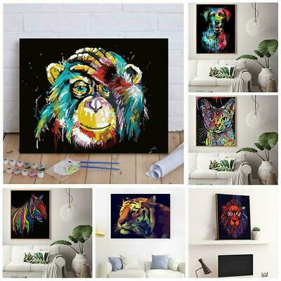 DIY Animal Paint By Number Kit Acrylic Oil Painting Art Decor Canvas Home B0K4