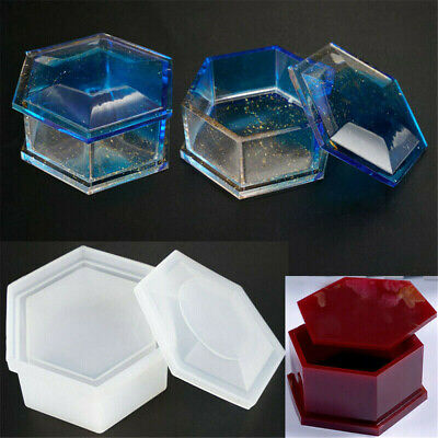 Silicone Hexagon Jewellery Storage Box Mold Resin Casting Moulds DIY Craft