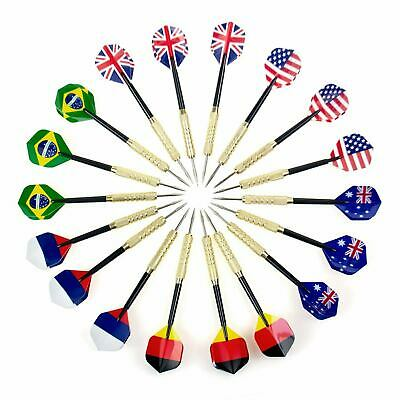 US Shipping!Addmotor 18pcs(6sets) Steel Tip Darts National Flag Dart Flight Gift