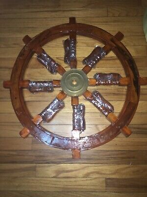 NEW Vintage Authentic Ship Wheel 37 inch Wood Brass Nautical Ocean Pirate Decor