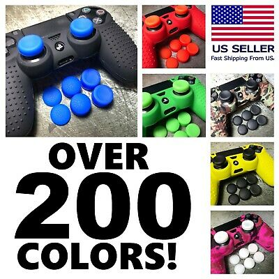 Bundle of Silicone Rubber Skin Case Cover Analog Grips For Sony PS4 Controller