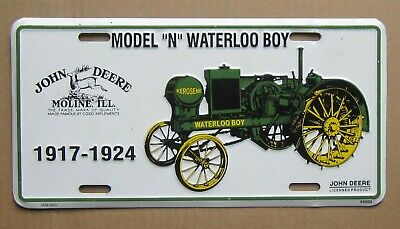 JOHN DEERE vintage advertisement License Plate WATERLOO BOY Model N Tractor