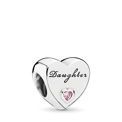 New Sterling Silver Daughter Heart Crystal Charm 791726Pcz Uk