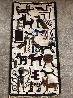Vintage Hand woven native Ecuadorian blanket rug with Animal designs 48 X 24