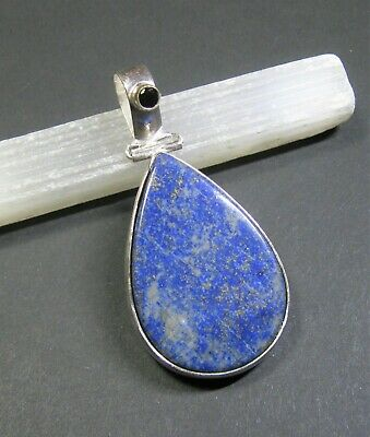 Natural, Lapis Lazuli with Black Onyx Gemstone Pendant - 925 Stamped