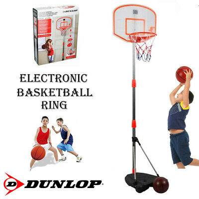 New Dunlop 175Cm Basketball Ring Hoop With Sound Kids Fun Indoor Ball Adjustable