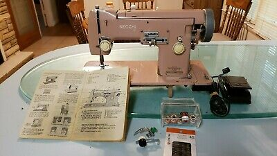 Vintage Necchi Pink Heavy Duty Sewing Machine Nora Series with Some Extras