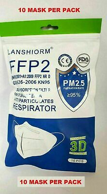 10 Pack KN95 Protective Respirator Face Mask Cover 5-LAYERS CE/ECM Certified