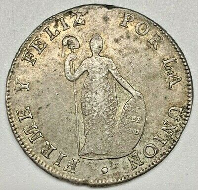 1826 Peru 8 Reales Silver Crown EF Extra Fine Coin Lima South America