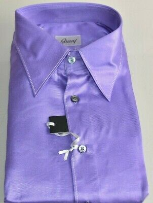 $1375 NEW Brioni Dress Shirt Button Down Purple SILK Long Sleeve L 16 41 - III
