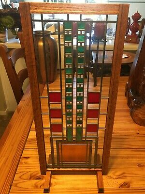 """Frank Lloyd Wright Style Stained Glass - Turquoise/Red/Orange 23"""" x 10"""" w/Stand"""