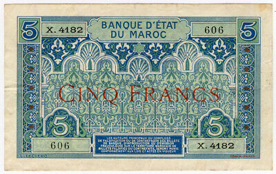 Morocco 1924 Issue 5 Francs Banknote Scarce Crisp Vf+.Pick#9.