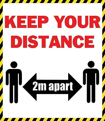 KEEP YOUR DISTANCE - SOCIAL DISTANCING SIGNS DURABLE Vinyl Sticker Virus @4