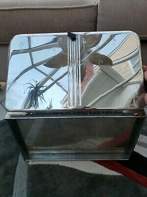 Vintage CHROME Bread Beauty Box BY Lincoln - Pie Safe Vented Shelf Cutting Board