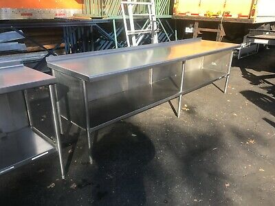 """120""""L Used all welded heavy duty restaurant table/cabinet."""