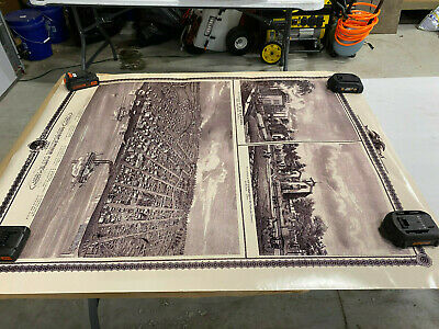 Poster Of Old Time Muscatine, Des Moines, And Dubuque Iowa Approx. 34X43 Inch