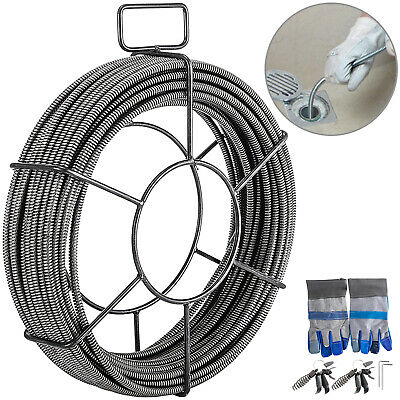 Drain Cleaning Cable 100Ft 1/2In Sewer Cable 30M Plumbing Cable Auger Snake Pipe