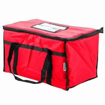 Insulated Food Delivery Bag / Pan Carrier, Red Nylon, 23  x 13  x 15