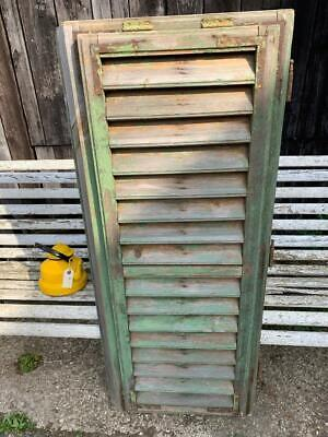 VINTAGE WOODEN SHUTTER WINDOW  ANTIQUE FRENCH  130x54 CM FREE post