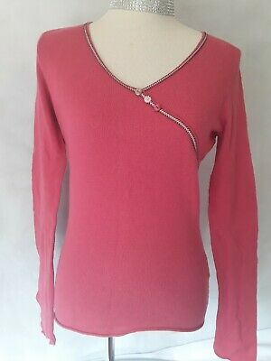 WHITE STUFF LADIES Size 14 Cashmere Mix Pink Jumper Long