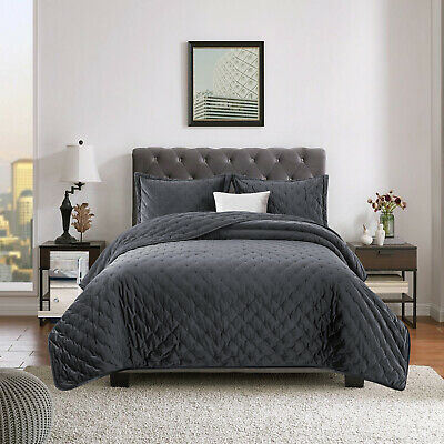 Luxury Grey Velvet Bedspread Quilted Bed Throws Double King Size Bedding Sets