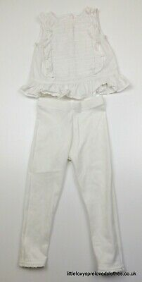 2-3 years girls NEXT white summer outfit set blouse top leggings