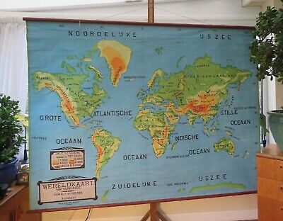 Fantastic Original Vintage Map Of The World Screen Printed Circa 1955