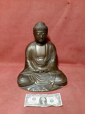 Large Antique Japanese Asian Bronze Buddha Sculpture