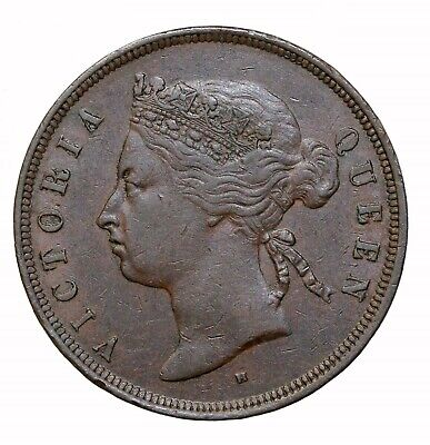 1874-H British Straits Settlements Copper One Cent Queen Victoria Penny KM#9