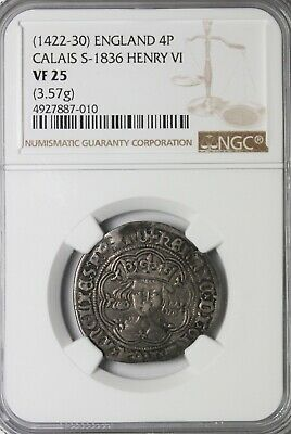 England King Henry VI 1422-1430 Silver Groat Fourpence Calais S.1836