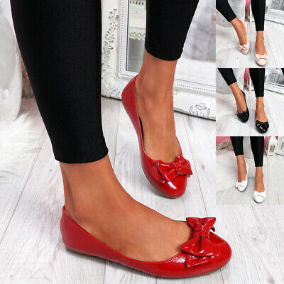 Womens Ladies Bow Flat Ballerinas Dolly Pumps Ballet Women Shoes Size Uk