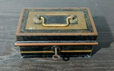 Super Cool Antique Metal Cash Box With Secret Compartment - Comes With Key