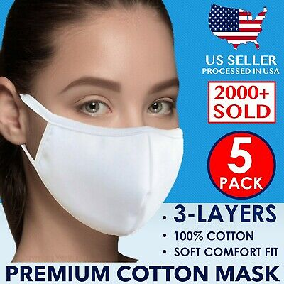 (5 Pack) Reusable Washable Soft Cotton Fashion Face Mask Premium Unisex (White)