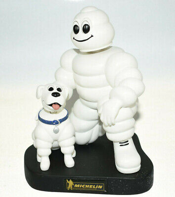 Michelin Man and Dog Bobblehead Figures On Base w/ Logo Limited Edition NEW