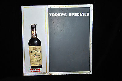 VINTAGE SEAGRAM'S 7 CROWN WHISKEY TIN ADVERTISING Today's Specials Chalk Board