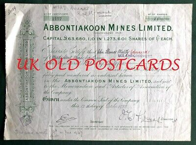 Abbontiakoon Mines Limited, Gold Coast,   Share Certificate - 1925, 25 Shares