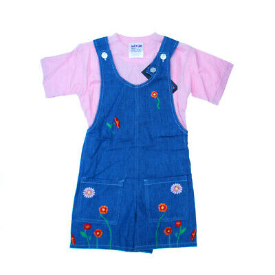 Girls Summer 2 Piece  Pink Top & Dungarees Short Set,2-3years,3-4yr,45yr,5-6yr