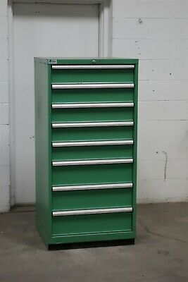 Used Lista 8 drawer green cabinet industrial tool storage #2137 Vidmar