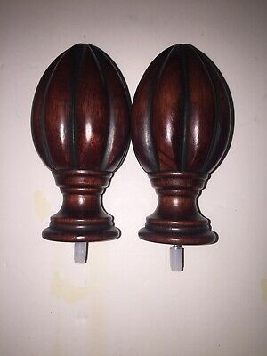 "2 Wooden Architectural Salvage Turned Ornate Brown Finials 5"" Tall"