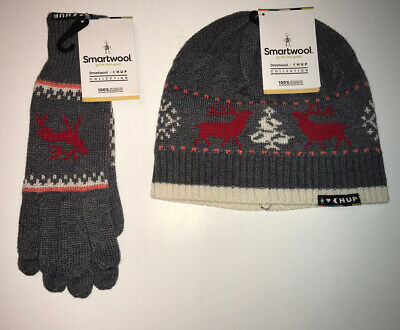 New w/tags, SMARTWOOL CHUP Kaamos Glove & Beanie Set, Med. Heather Gray