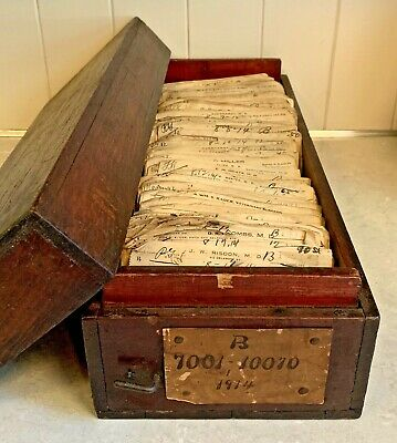 Antique 1914 Wood Pharmacy Paper Prescription File Box Rx Ephemera Doctor Script